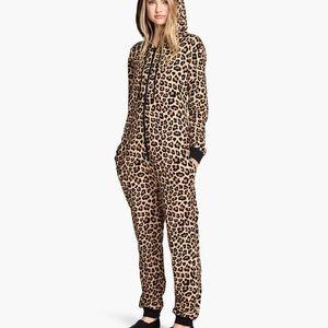 H&M Divided Leopard Print Onesie Size L